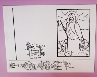 Good Shepherd Card or Easter Card with Bookmark to Download and Color, Blank Inside, Digital Download, Coloring Card