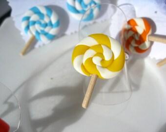 Lemon & Cream Lollipop Sweet Candy Ring -Foodie Ring-Teen Girls Gift-Lollipop Jewelry-Girlfriend Gift-Niece Gift-Sister Gift-stocking Filler