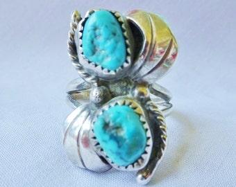 Vintage Ring BIG Vintage Navajo TURQUOISE Sterling Silver Ring Stunning!! Rare Find Vintage Jewelry By Vintagelady7