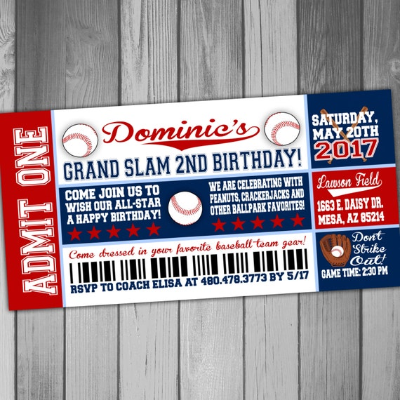 Baseball Birthday Ticket Invitations Sports Birthday Party