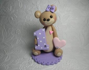 Personalized Baby Girl's First Birthday Teddy Bear Cake Topper,Teddy Bear Gift,Teddy Bear Keepsake,Teddy Bear Figurine
