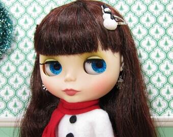 Snowman Barrettes Hair Clips for Blythe & Pullip Dolls