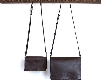 Messenger Bag - Two sizes - Italian Leather - Dark Roast
