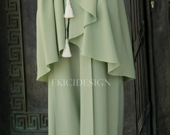 Pleated pale green Palazzo-trousers