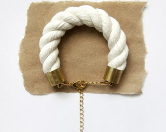 Chunky Piping Cord Bracelet - Natural Cotton Rope - Gold Chain