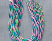 Pink Green Blue Double Ended Candy Cane Dreads 22 inches Long Pack of 10