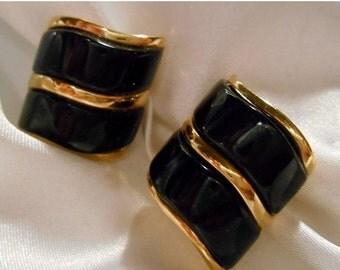 40% OFF SALE Avon Modern Drama Gold Wave Earrings With Black Enamel