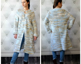 READY TO SHIP, Wool Knitted Jacket, Hand knitting coat, gray blue Cardigan, Womens Wool Coat, Soft Winter Jacket, Chunky Sweater