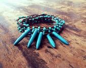 Tribal Turquoise: Versatile crocheted necklace / bracelet / belt / headband