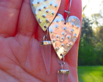 Large Long Artisan Sterling silver hammered heart and Quartz crystal dangle earrings. FUN!