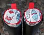Ready to Ship - Aqua, Red, and Gray Feathers English Boot Trees