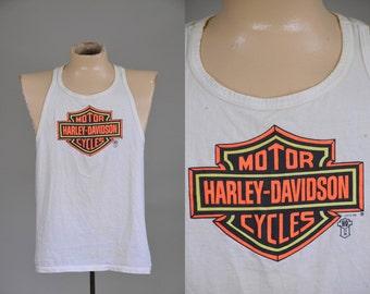 80s Harley Davidson Muscle Shirt White Cotton Neon Orange / Yellow Racer Back Biker Tank