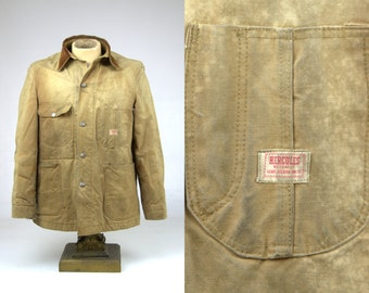 50s HERCULES Barn Coat Blanket Lined Chore Work Wear Corduroy Collar Denim Jacket