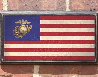 US Marine Corp American Flag Wall Art Sign Plaque Gift Present Home Decor Vintage Style Antiqued USMC Semper Fi The Few The Proud American