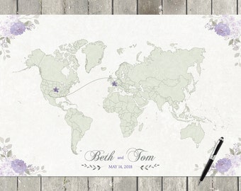 World map lavender etsy lavender wedding guestbook map wedding guestbook alternative wedding world map custom world gumiabroncs Choice Image