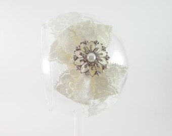 CLEARANCE lace bow headband, lace headband, hair bow headband, ivory lace bow, ivory lace headband, all lace headband, baby girl headband
