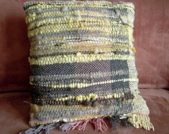 "Hand Woven Cushion  -  Natural Dyed Wool Pillow Cover - 16"" x 17""  Pink, grey, cream, yellow, grey handspun"