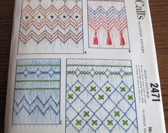 Vintage McCall's 2471 Transfer Pattern For Smocking Border Designs Circa 1961