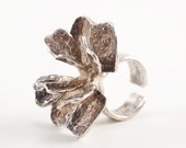 Modernist Theresia Hvorslev Sculptural Silver Flower Ring Sweden Scandinavian Nordic 1960s