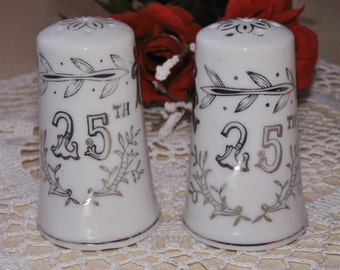 vintage Lefton 25th Anniversary vintage salt and pepper shakers set - porcelain