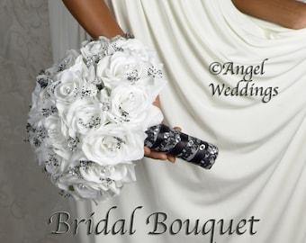 DAMASK BLACK WHITE Wedding Bouquet Bridal Package Silk Flowers Arrangement Bouquets Custom Corsage Boutonnieres Groom Bridesmaids Keepsake
