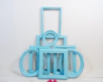 Distressed Blue Aqua Frames Set 8 Vintage Wood Frames Set/Large Open Frames/Wall Gallery Frames/Frame Collection/Frame Lot/Nursery Frames