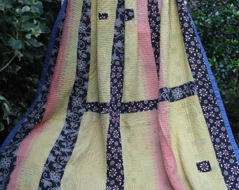 SALE PRICEKantha quilt,Yellow Floral Kantha,Flowery Kantha, Yellow Kantha,Vintage sari throw, Indian throw