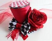 Tea Party Mini Hat - Tea Time Hat - Alice in Wonderland Top Hat - Mad Hatter Top Hat Prop - Queen of Hearts Top Hat - Cake Smash Photo Prop
