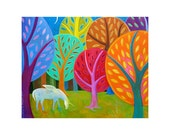 PRINT 8x10 GHOST or Unicorn in the Woods, magical art, white horse art, fall trees, nursery decor, whimsical painting    by Elizabeth Rosen