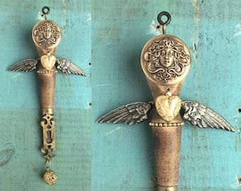 Brass Angel, guardian angel, original mixed media assemblage, altered art doll ornament, art nouveau style,  by Elizabeth Rosen