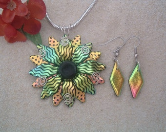 Handcrafted Dichroic Glass Flower/Sunburst Pendant with optional matching earrings