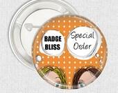 Special order 12 Ladybug name pinback button badges