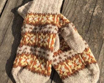Vintage Mittens / Fair isle mittens / Gloves / Vintage Gloves / Fair-Isle