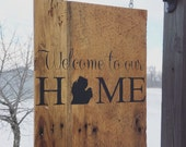 Hanging barn wood sign. Comes with hardware. Adress sign. Welcome to our home.