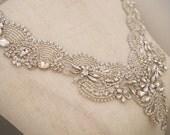rhinestone bridal collar applique, wedding dress V neckline collar applique, crystal collar for bridal gown new arrival