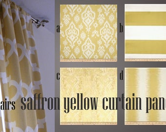 Saffron / Yellow and Grey Curtain Panels 25'' x 84'' Pair Lined Various Patterns Window Treatment Draperies