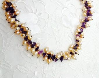 Pearl & Amethyst necklace, sulvet tone , half off sale, item no S172