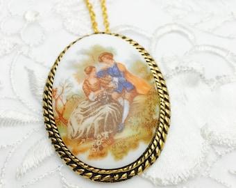 Vintage Fragonard Brooch/Pendant, Painted Porcelain, Antique Gold Tone, HALF OFF Sale, Item No. B779