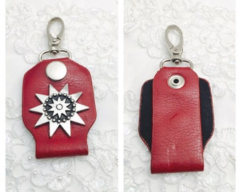 Star Keychain, Red Leather and Silver Tone,  HALF OFF Sale, Item No. M115