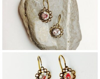 14KG flower earrings, vintage clear CZ, floral design, Clearance Sale, item no. S437
