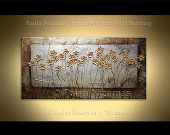 Original Palette Knife textured Blooming Wild Flowers painting  on canvas by Paula Nizamas