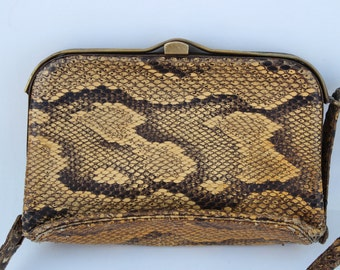 1950s Vintage Snakeskin clutch Bag - small Handbag - Purse - evening -hard purse -solid -fifties -retro -animal print -leather