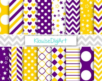 Dark Purple and Gold Printable Digital Paper Pack with Polka Dots, Quatrefoil and Herringbone for Personal and Small Commercial Use (0117)