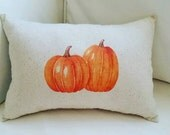 Pumpkin Lumbar Fall Pillow, Harvest,Thanksgiving or Halloween Cushion, French Country Home Decor, Pumpkins, Holiday