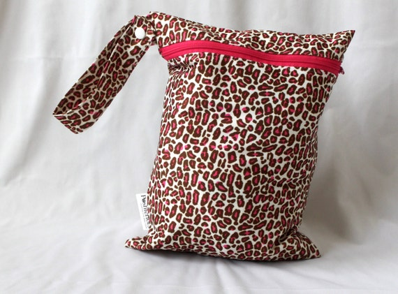 """Leopard print Wet bag 9""""x12"""" will fit approx 4 cloth diapers. Travel size bag"""