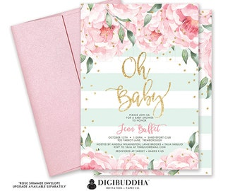 Floral Baby Shower Invitation Gender Neutral Florals and Stripes Printable Oh Baby Shower Invite DIY Printed Baby Shower Invitation - Jenn