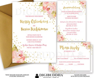 WEDDING INVITATION SUITE Wedding Invitation Set 3 Piece Wedding Suite Wedding Invites Wedding Invite Suite Printed or DiY Printable - Krissy