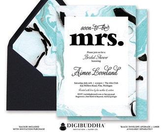 MARBLED BRIDAL SHOWER Invitation Marble Bridal Shower Invite Turquoise Blue Modern Printed or Printable Bridal Shower Invitation - Aimee