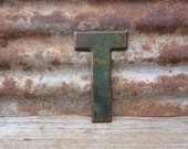 Letter T Sign Vintage Metal Letter T Sign 7 1/2 Inch Aged Paint Distressed Industrial Marquee Sign Wall Art Alphabet Letter vtg Advertising
