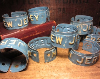 Vintage NEW JERSEY License Plate Bangle Cuff Bracelets Upcycled Blue & Off White Distressed Jewelry Cuff Art Industrial Unisex Mens Womens
